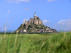 The medieval island of Mont-Saint-Michel, the most visited monument in Normandy