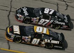 Nemechek (No. 01) racing against Kurt Busch at Talladega Superspeedway in 2005