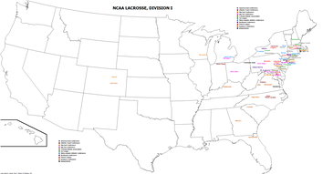 A map of NCAA Division I men's lacrosse teams.