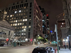 Downtown Oakland at night from 12th and Franklin