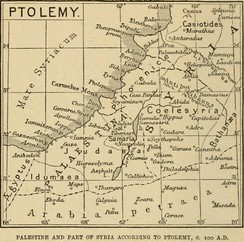 Palestine & Coele-Syria according to Ptolemy (map by Claude Reignier Conder of the Palestine Exploration Fund)