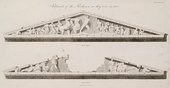 Illustrations with the sculptures of the two pediments of the Parthenon, by James Stuart & Nicholas Revett in 1794