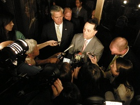 Pedro Espada and Dean Skelos address the media following the June 23 Special Senate session.