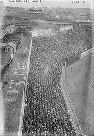 The Polo Grounds left field foul line with guide rope, as seen from upper deck, 1917