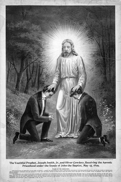 A 19th-century drawing of Joseph Smith and Oliver Cowdery receiving the Aaronic priesthood from John the Baptist.