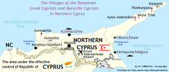 Locations of the remaining predominantly Orthodox Greek Cypriots and Catholic Maronite Cypriots in Northern Cyprus.
