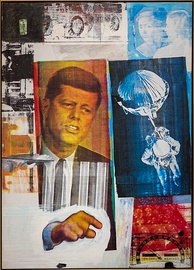 Robert Rauschenberg, 1963, Retroactive II; combine painting with paint and photos.