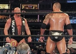 The Rock defeated Stone Cold Steve Austin (left) in the latter's final match at WrestleMania XIX in March 2003