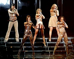 "The Spice Girls performing ""Spice Up Your Life"" as the opening number of their Return of the Spice Girls tour, at the Air Canada Centre, in Toronto."