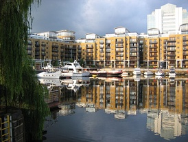 Boats moored in St Katharine Docks