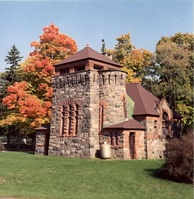 Starkweather Chapel, in Richardsonian Romanesque architectonic style, in Highland Cemetery