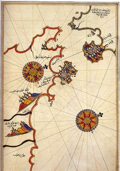 Historic map of the Strait of Gibraltar by Piri Reis