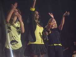 "The Sugababes performing ""About You Now"" during their Change Tour in 2008."