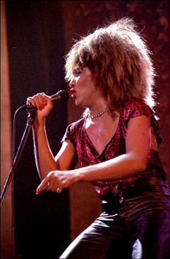 Turner performing at Drammen, Norway, in 1985