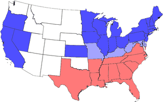 Division of states during the Civil War. Blue represents Union states, including those admitted during the war; light blue represents border states; red represents Confederate states. Unshaded areas were not states before or during the Civil War.