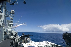 The Canadian frigate HMCS Regina fires a Harpoon anti-ship missile during a Rim of the Pacific (RIMPAC) sinking exercise