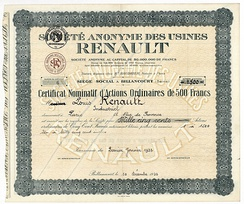 Share of the SA des Usines Renault, issued 1. January 1932 to Louis Renault
