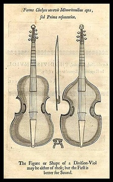 Plate from Christopher Simpson's book, The Division Violist, England, 1659–1667 edition.