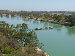 A ferry crossing the Murray River towards the town of Waikerie, South Australia