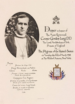 1918 menu for a dinner honoring Cosmo Gordon Lang, Archbishop of York