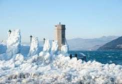 Bora is a dry, cold wind which blows from the mainland out to sea, whose gusts can reach hurricane strength, particularly in the channel below Velebit, e.g. in the town of Senj