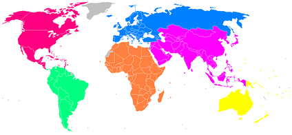 Map of world with six area associations