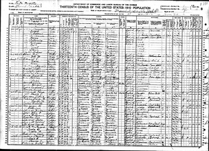 An example of a 1910 U.S. census form with August H. Runge