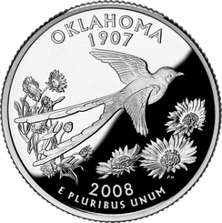 Oklahoma's quarter, released in 2008 as part of the state quarters series, depicts Oklahoma's state bird flying above its state wildflower.[257]