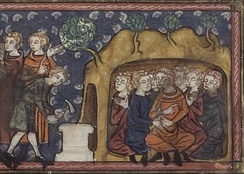Decius orders the walling in of the Seven sleepers[1] From a 14th-century manuscript.