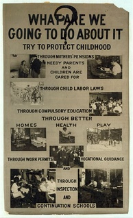 Lewis Hine used photography to help bring attention to child labour in America. He created this poster in 1914 with an appeal about child labour.