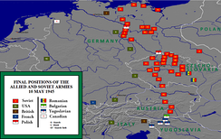 Final positions of the Allied armies, May 1945.