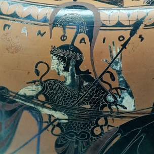 Athena wearing the aegis, Attic black-figured hydria by the potter Pamphaios (signed) and the Euphiletos Painter, c. 540 BC. Found in Tuscania, now in the Cabinet des Médailles, BNF, Paris