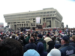 Patriots fans rally in front of Boston City Hall following the team's Super Bowl XXXVIII championship in 2004