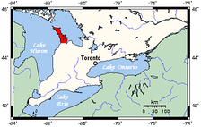 Map of Southern Ontario showing Bruce Peninsula in red.