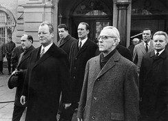 Willy Brandt and Willi Stoph in Erfurt, 1970, the first time a Chancellor met a GDR prime minister