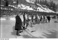 A game between Canada and Sweden during the 1928 Winter Olympics.