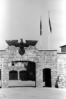 Gate to the garage yard in the Mauthausen-Gusen concentration camp