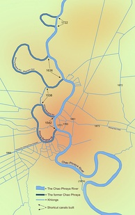 Bangkok's major canals are shown in this map detailing the original course of the river and its shortcut canals.