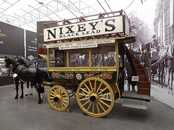 An historical Brixton to Clapham horse-drawn bus on display at London Bus Museum.