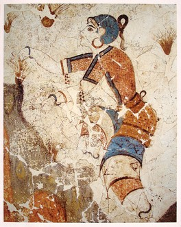"""A detail from the """"Saffron Gatherers"""" fresco of the """"Xeste 3"""" building. It is one of many depicting saffron; they were found at the Bronze Age settlement of Akrotiri, on the Aegean island of Santorini."""
