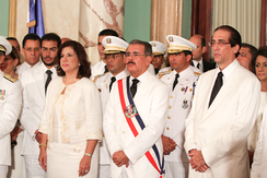 President Danilo Medina at the swearing-in of his government cabinet