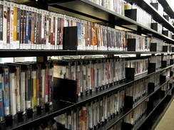 A small portion of the thousands of DVDs that can be borrowed from The New York Public Library for the Performing Arts