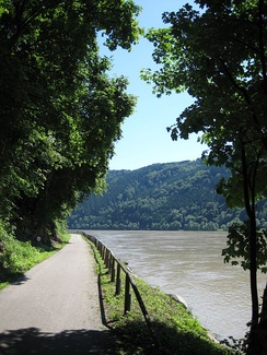 The Danube Bike Trail running along the Schlögener Schlinge