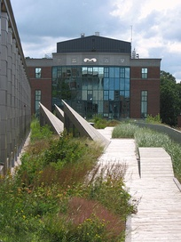 The Gateway Center's green roof/ garden (foreground)