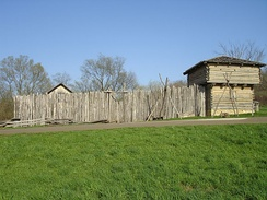 This historical reconstruction, of an 1832 civilian fort, from the Blackhawk War, in Illinois, featured a stockade with a blockhouse.
