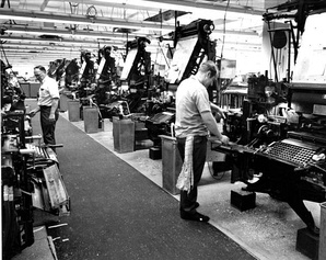 The Florida Times Union employees using linotype machines in 1972.