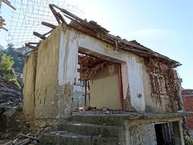 Ruins of a Kosovo Serb house in Prizren that was destroyed by rioters.