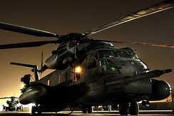 MH-53 Pave Lows prepare to take off for their final combat mission on 27 September 2008, in Iraq.