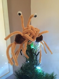 An alternative tree-topper for Pastafarians, handmade from pipe cleaners and pom poms.
