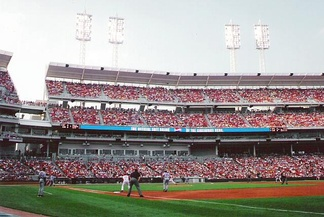 A view of Great American Ball Park, including The Gap.